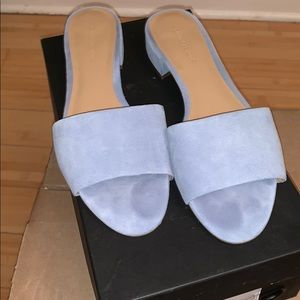 Suede baby blue sandals